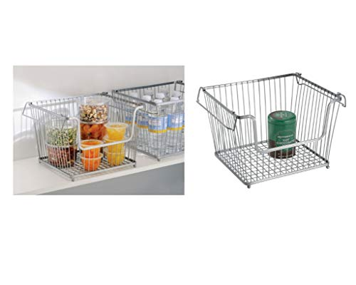Price comparison product image iDesign York Lyra Wire Basket,  Compact Kitchen Organiser Ideal for Cans and Spices,  Durable Metal,  Silver