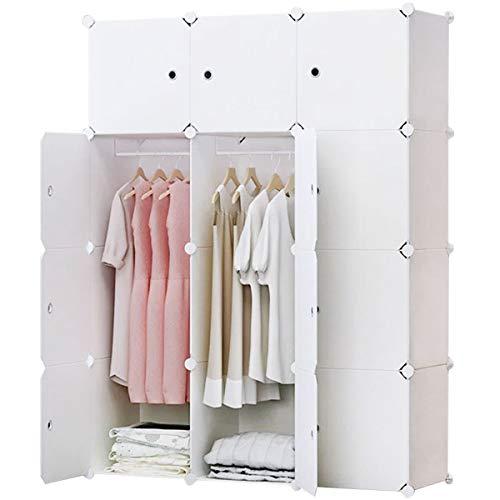 BRIAN & DANY Armoire Portable, Penderie avec Portes, Storage Modulable Meuble Étagères de Rangement (12-Cube, Stickers supplémentaires Inclus)