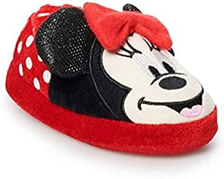 Minnie Mouse Disney Junior Plush Slippers w/Red Bow & Sequin Ears (Toddler's 5-6)