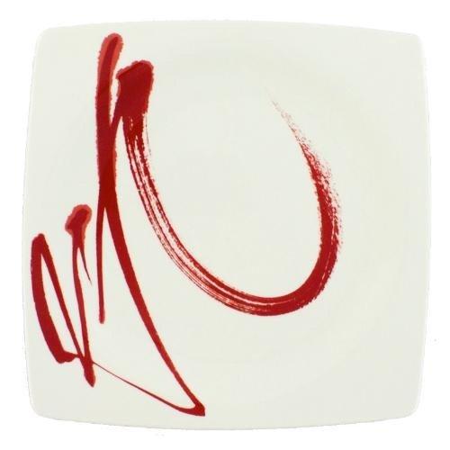 Bruno Evrard Assiette Plate en Porcelaine 27cm - Lot de 6 - Paint IT Red