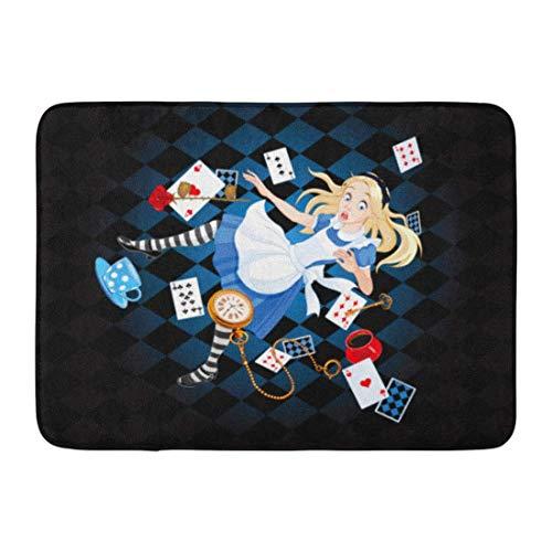 """NCH UWDF Felpudos Alfombras de baño Alfombrilla de Puerta Wonderland Alice está cayendo en la madriguera del Conejo Cuento de Dibujos Animados de Hadas 15.8""""x23.6"""""""