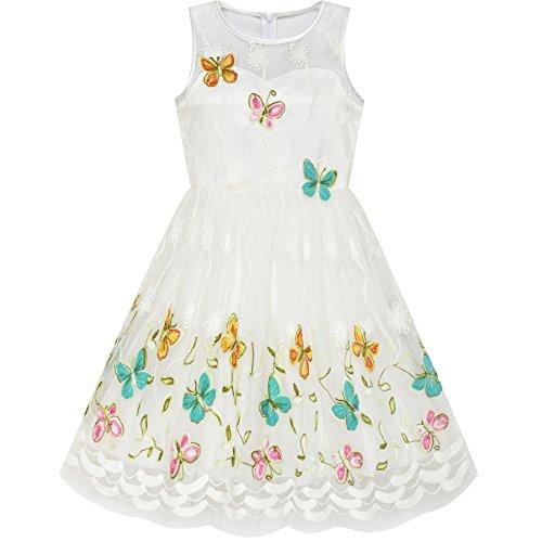 Sunny Fashion Mädchen Kleid Schmetterling Ostern Illusion Joch Party Kleid Gr. 116