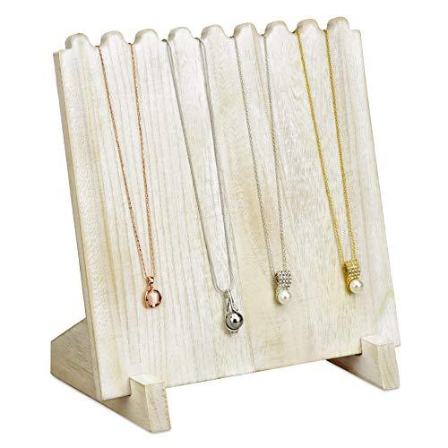 Mooca Wooden Plank Necklace Jewelry Display Stand for 8 Necklaces, Necklace Display Holder, Wood Plank Necklace Display Stand, Necklace Storage Holder, Jewelry Display Stand, White Color