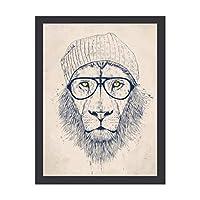 INOV クールなライオン インテリア 壁掛け 額入り ポスター アート アートパネル リビング 玄関 プレゼント モダン アートフレーム おしゃれ 30x40cm