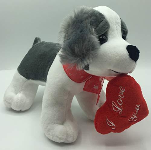 perro de peluche para bebe del felpa fina- peluche con frase de amor de 25x20cm