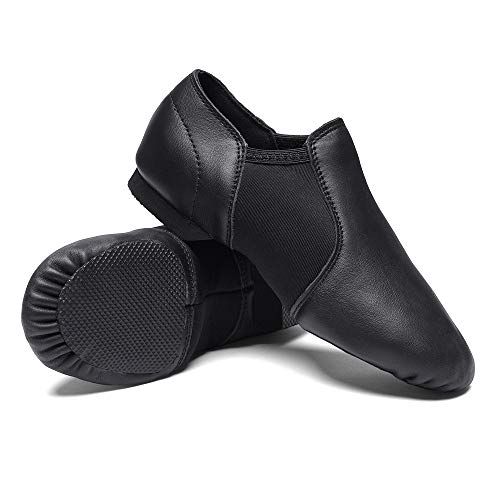 STELLE Leather Jazz Slip-On Dance Shoes for Girls Boys Toddler Kid(3MB, Black)