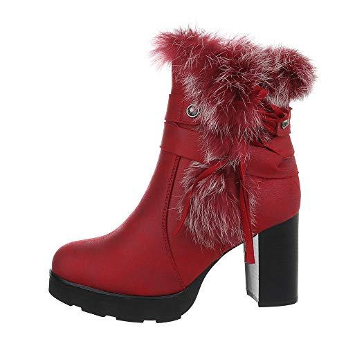 Ital-Design Damenschuhe Stiefeletten High Heel Stiefeletten Synthetik Rot Gr. 35