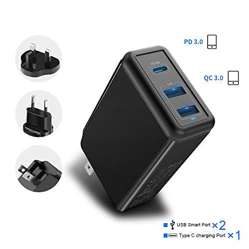 Rocketek USB C-Wandladegerät, 60W Typ C PD-Schnellladegerät 3-Port mit EU UK US-Steckeradapter Kompatibel für iPhone 11 / Pro/X/Xr/XS/Max, iPad Pro, Mac Book Pro/Air, Galaxy, Pixel, Android, etc