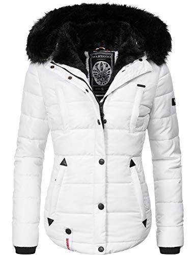 Marikoo Damen Winter Jacke Steppjacke Lotusblüte (vegan hergestellt) Weiß Gr. M