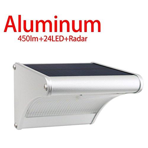Licwshi Solar-Außensicherheits-Wandleuchten, 450lm 24 LED Aluminiumlegierung Radar-Bewegungsinduktion Drahtlose Wasserdichte Nachtlichter für Garten, Patio, Zaun,kaltes weißes Licht,1 Packung