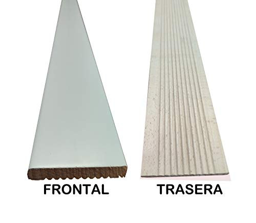 Vipermader TAPETA BLANCA DE MADERA MACIZA HAYA VAPORIZADA Kit de 6 tapetas barnizadas de 7 cm de ancho (4 Uds de 220x70x9mm + 2 Uds de 100x70x9mm)