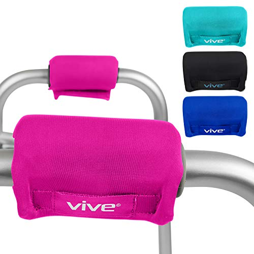 Vive Walker Grips - Padded Hand Covers - Soft Cushion Padding Medical for Folding Rolling Wheelchair, Rollator Handle, Senior, Elderly Grippers - Crutch Handle Pads - Mobility Aid Hand Cushion (Pink)