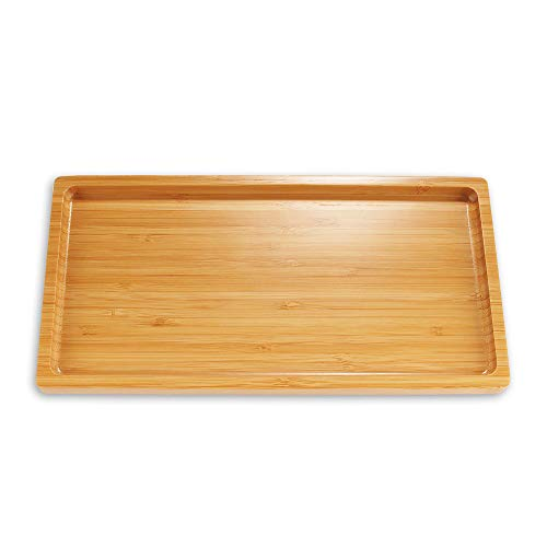 Organic Bamboo Tea Serving Tray - Rounded Edges - 11'x5.5'x0.6' - 1 Piece