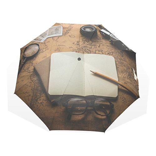 GUKENQ Vintage Old World Map Fotokameras, Notebook Reise-Regenschirm, leicht, Anti-UV Sonnenschirm für Männer Frauen und Kinder, Winddicht, Faltbar, kompakt