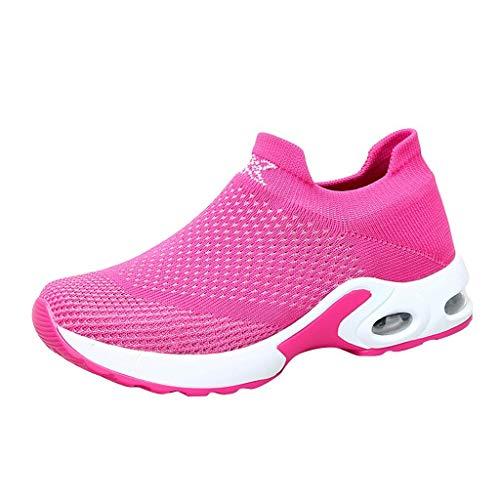 Riou Laufschuhe Damen Wasserdicht Outdoor Running Shoes Sportschuhe Frauen Mesh Atmungsaktiv Turnschuhe Luftkissen Sneakers Trainer Leichte Fliegende Casual Schuhe (35 EU, Pink)
