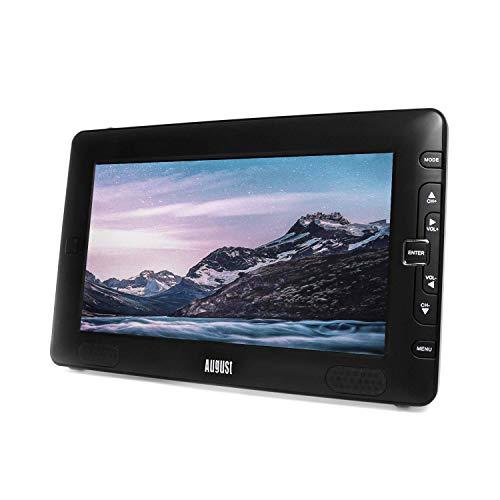 August DTV905 Tele Portable TNT HD Mini TV HDMI LED Enregistreur 9 pouces - Lecteur USB Multimédia Batterie Secteur et compatible 12V - Téléviseur Voiture Camion Camping-car Caravane