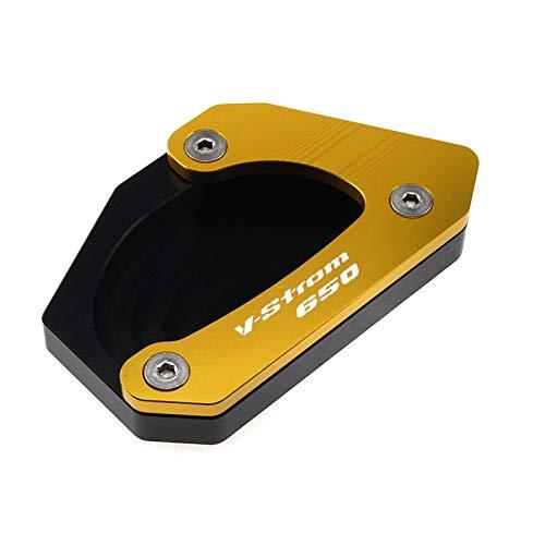 Motorcykel Kickstand Extender För Suzuki V-Strom 650 DL650 2012-2019 2015 2016 2017 2018 Motorcykel CNC Kickstand Side Stand Enlarger Plate Extension Pad (Färg : Guld)