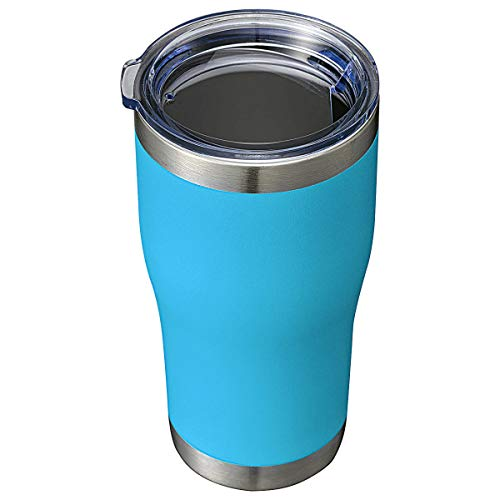 20oz Tumbler Stainless Steel Reusable Coffee Travel Mug with Spill Proof Lid Double Wall Blank Vacuum Insulated Metal Thermal Cups for Cold Hot Drinks Women Men (Powder Coated Deep Sky Blue, 1 Pack)