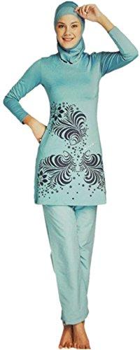 WOWDECOR Muslimischer Badeanzug, Muslimische Bademode Burkini für Damen Mädchen Full Cover Hijab, Islamische Muslim Bademode Schwimmanzug UV Schutz Türkisch Kleidung (Grün, Asien S=EU-Größe 34-36)