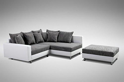 Küchen-Preisbombe Modernes Sofa Couch Ecksofa Eckcouch in Weiss Eckcouch mit Hocker - Minsk R