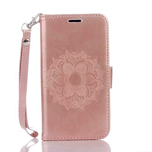 Galaxy S5 Hülle, DENDICO Ledertasche im Ständer mit Kreditkartenhaltern und Magnetverschluss, Flip Case Tasche Wallet Case Schutzhülle für Samsung Galaxy S5 - Rose Gold
