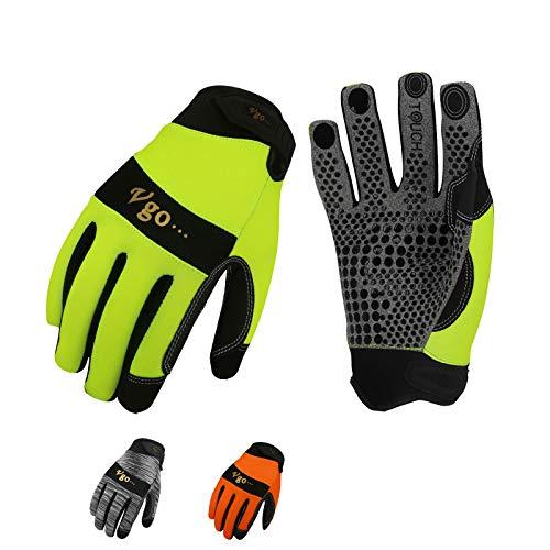 Vgo SL7895 Arbeitshandschuhe, hohe Dexterität, Synthetikleder mit Silikon, rutschfest, vielseitig einsetzbar, 3 Farben, Größe X-Large Grey+High-Vis Orange+Green-XL