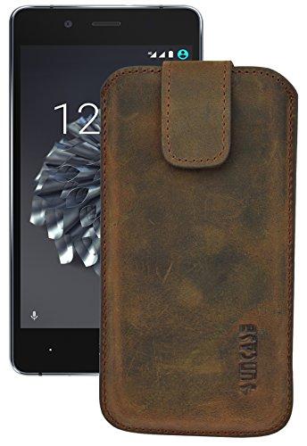 Suncase ECHT Ledertasche Leder Etui *Slim-Edition* für BQ Aquaris X5 Plus (mit Rückzugsfunktion & Magnetverschluss) antik-coffee