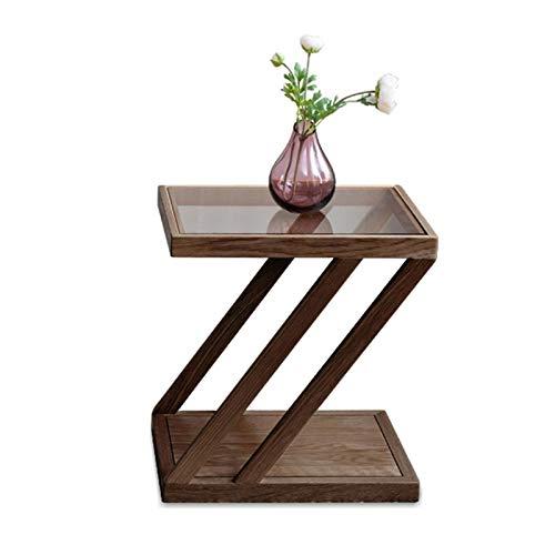 Mesa de centro industrial pequeña para decoración de sala de estar, mesa auxiliar de té, mesa de cristal, mesita de noche de madera simple y moderna (color de nogal color)