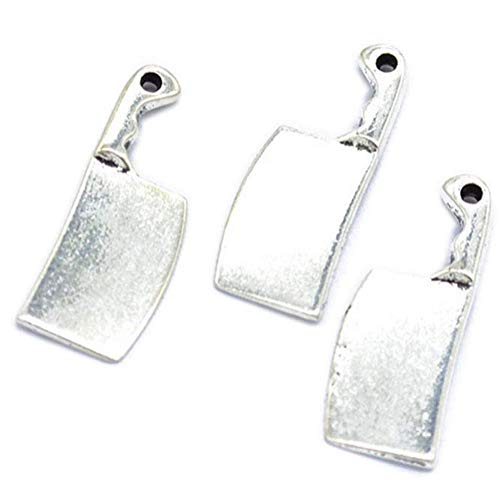 60 pcs Vintage Antique Silver Alloy Kitchen Knife Charms Pendant Jewelry Findings for Jewelry Making Necklace Bracelet DIY 21X9mm (60pcs kitchen knife)