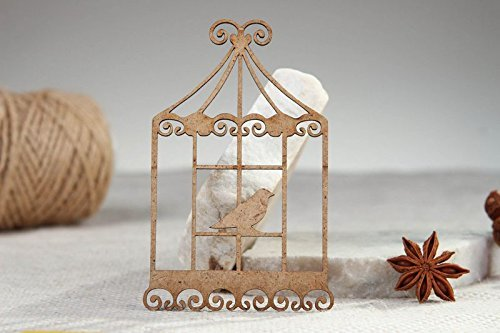 """Handmade Wooden Decorative Craft Chipboard """"Bird in a Cage"""" Art Supply"""