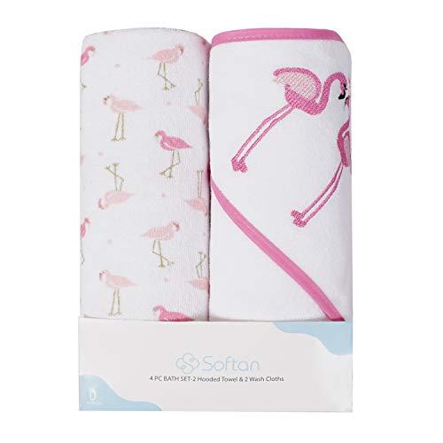 Juego de toallas y paños para bebé con capucha | Algodón natural | Gran regalo para bebés y recién nacidos | Paquete de 4