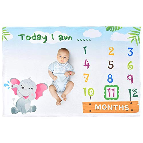 WERNNSAI Elefante Manta de Hito - 150 x 100 cm Franela Manta de Bebé Manta de Cama Baby Shower Regalo de Cumpleaños Nacido, Telón de Fondo de la Fotografía Mantas con Prop