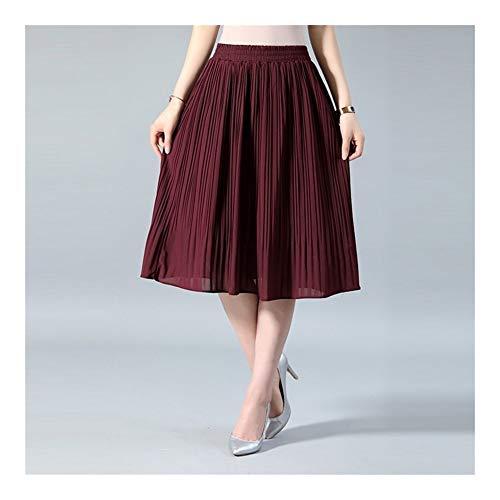 Falda de gasa para mujer, de verano, delgada, lisa, plisada, para mujer, Saias Midi Faldas Vintage (color: vino, talla: talla única)