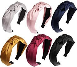 Knot Headbands for Women,6 Pack Silk Hair Hoop Top Knot Headbands Fashion Headbands Satin Headbands for Women Cross Knot Hairbands Headbands for Hair Organize