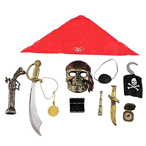 JOYIN 10 Piece Halloween Pirate Costume Accessories, Pirate Cosplay Role Play Set Decoration for Kids(Hook, Eye Patch, Treasure Box, Necklace, Sword, Compass, Dagger, Mask, Flintlock Pistol )