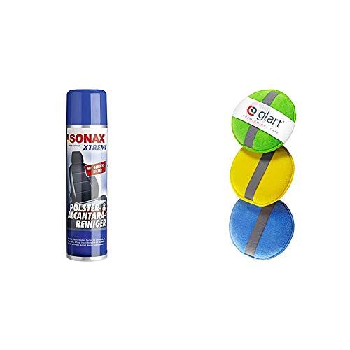 SONAX 206300 XTREME Polster- & AlcantaraReiniger, 400ml & Glart 43PP Mikrofaser Handpolierschwamm 3er Set, 130x25 mm, Wax Applikator Pad für Wachse, Polituren, Lackreiniger, Autopolitur