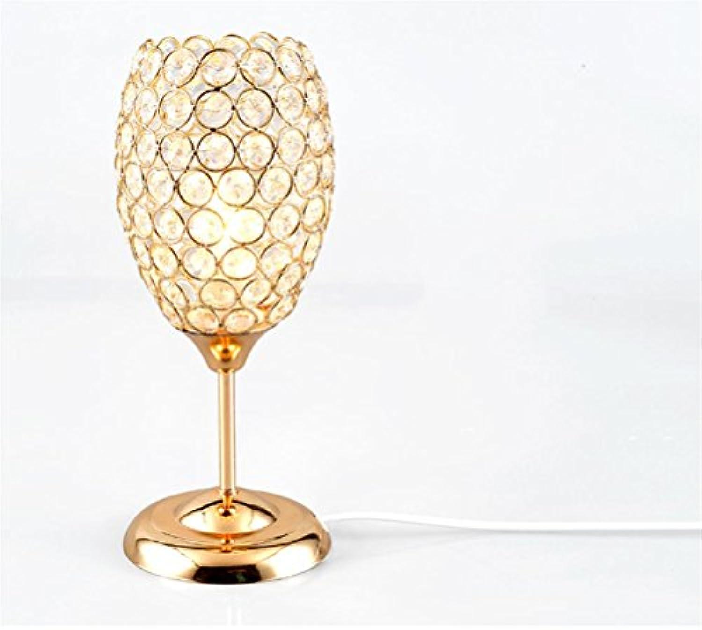 SSQ-CXOKristalllampe, 5W, k9 Kristall Schlafzimmer Nachttischlampe Studie Schreibtischlampe Gold (Silber) , Gold