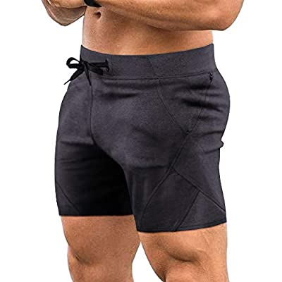 COOFANDY Men's Gym Workout Shorts Running Short Pants Fitted Training Bodybuilding Jogger with Zipper Pockets Dark Grey