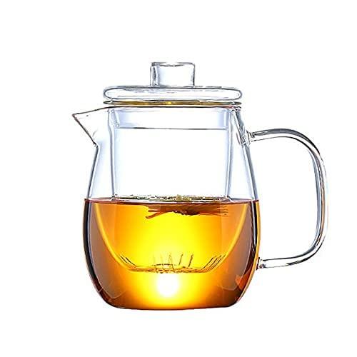 GJZXXL Tetera y Tazas de Vidrio Tetera de Vidrio Resistente al Calor con cafetera extraíble Juego de té de Kung Fu Tetera de Flores Tetera de Cerveza (1 Teapot)