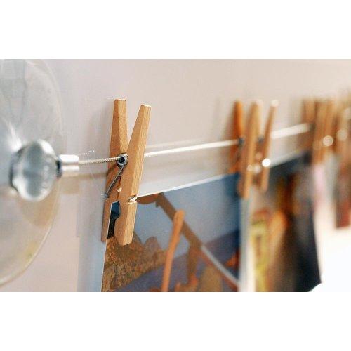 HAB & GUT -MC400- Cuerda de Acero para Colgar Fotos, 120 cm, con 12 Pinzas de Madera