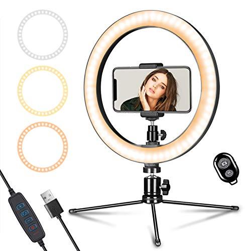 Anillo de luz 25,4 cm con soporte trípode y para teléfono Youtube Video, LED mesa regulable maquillaje, selfie, celular, fotografía, disparo 3 modos 10 niveles brillo