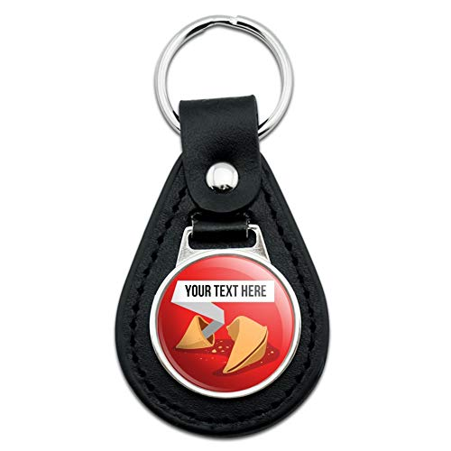 Personalized Custom Fortune Cookie Black Leather Keychain