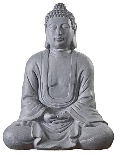 Worldconnection Riesiger XXXL Großer Buddha 80 cm Steinoptik Garten Deko Figur Skulptur Feng Shui sitzend