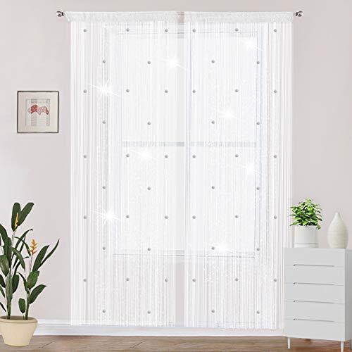 AIFENTE 1 cortina decorativa de gota de rocío con purpurina de cristal cortina de cuentas de habitación divisor de puerta tamaño del panel de ventana de 90 x 200 cm cuentas de cristal cortina blanco