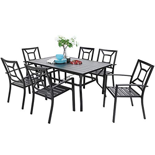PHI VILLA 7 Piece Metal Outdoor Patio Dining Bistro Sets with Umbrella Hole - 60.2' x 37.8' Rectangle Patio Table and 6 Backyard Garden Outdoor Chairs, Black