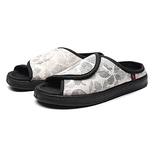 CYN Zapatilla Rejilla Extra Ancho, Diabetes Zapatos Hombres Zapatos de pie Diabéticos Casuales Mujeres Zapatillas Diabéticas Frontal Apertura Planeo Piso-Blanco_39EU