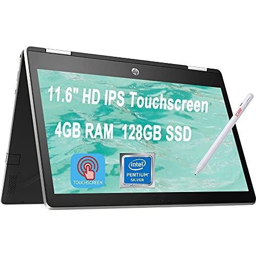 "Latest 2020 HP Pavilion X360 11 2 in 1 Laptop 11.6"" HD IPS Touchscreen Intel Quad-Core Pentium Silver N5000 4GB DDR4 128GB SSD HP Audio Boost WiFi HDMI + Pen"
