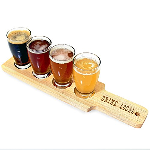 Cathy's Concepts Drink Local Beer Flight Sampler, Clear/Brown