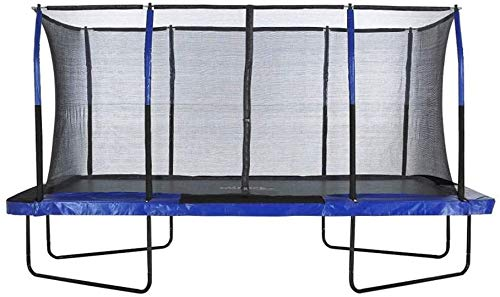 Upper Bounce Rectangle Trampoline Set with Premium Top-Ring Enclosure System – Outdoor Trampoline - Gymnastics Rectangular Trampoline for Kids - Adults - Supports Upto 500 lbs. (8 x 14 FT, Blue/Black)