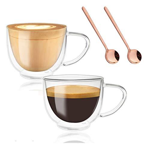 Doppelwandige Gläser Latte Macchiato mit Henkel, Trinkgläser Kaffeeglas, Durchsichtige Tassen, Kaffee, Cocktail, Espresso, Latte, Macchiato, Cappuccino, 200 ml, mit 2 Löffeln (vergoldete)